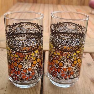 Vintage 1970s coca cola glasses